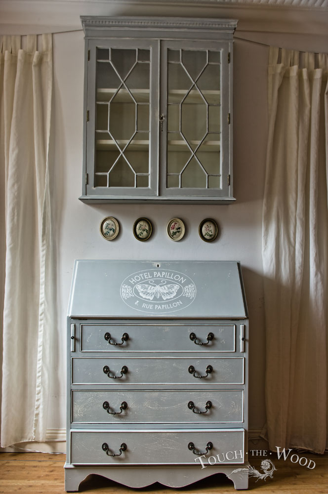 vintage shabby chic bureau with bookcase no 16 touch the wood. Black Bedroom Furniture Sets. Home Design Ideas