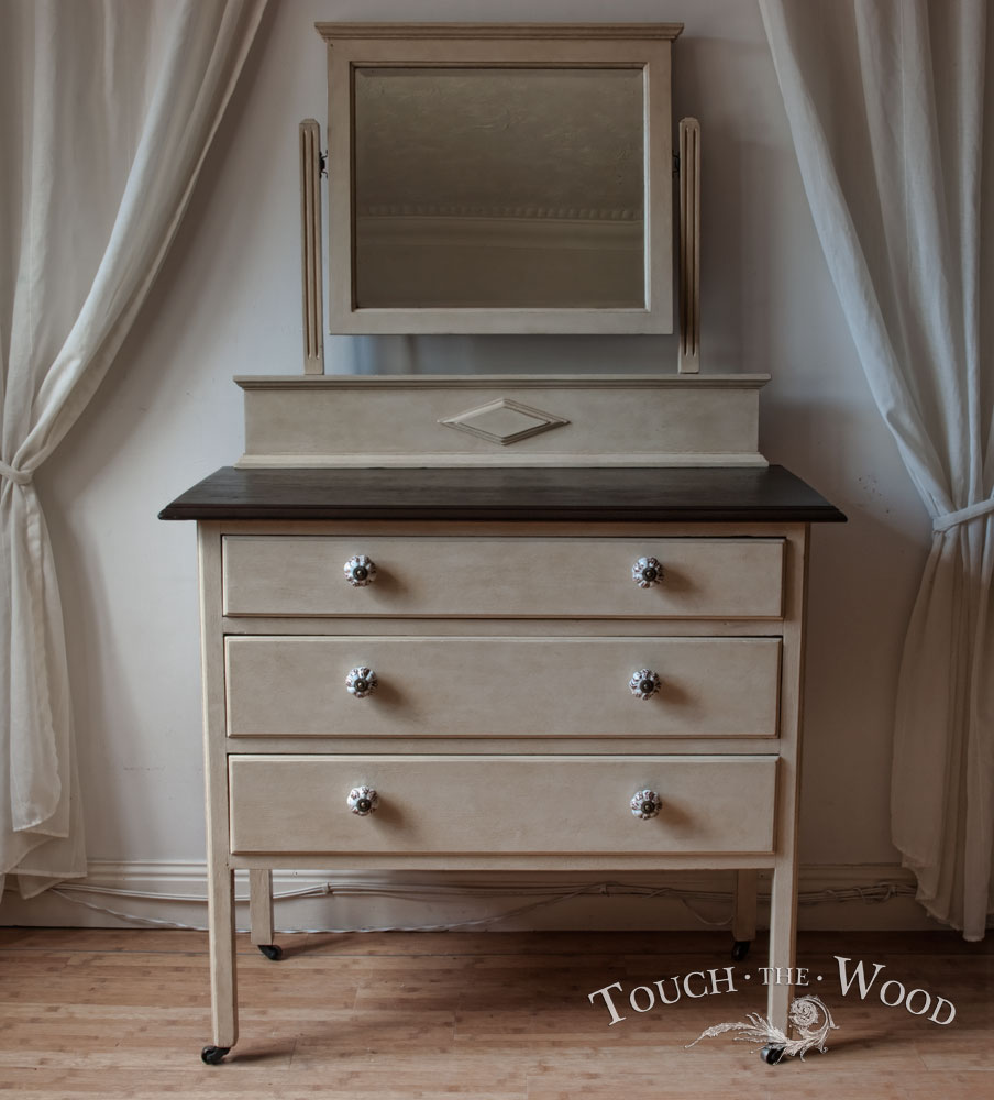 07022014_antique-shabby-chic-dresser-mirror-vintage-chest-drawers_07_02 - Antique Shabby Chic Dresser With Mirror - Drawer Chest No. 09
