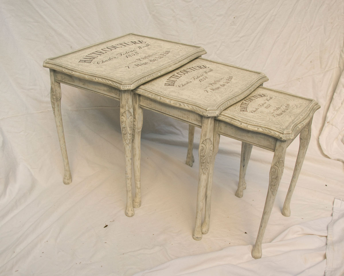 Vintage shabby chic nest of tables touch the wood