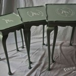vintage shabby chic nest of tables with stencil
