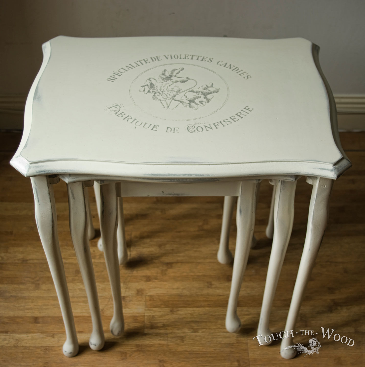 vintage shabby chic nest of tables no 13 touch the wood. Black Bedroom Furniture Sets. Home Design Ideas