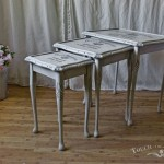 Shabby Chic Nest of Tables with French Advert