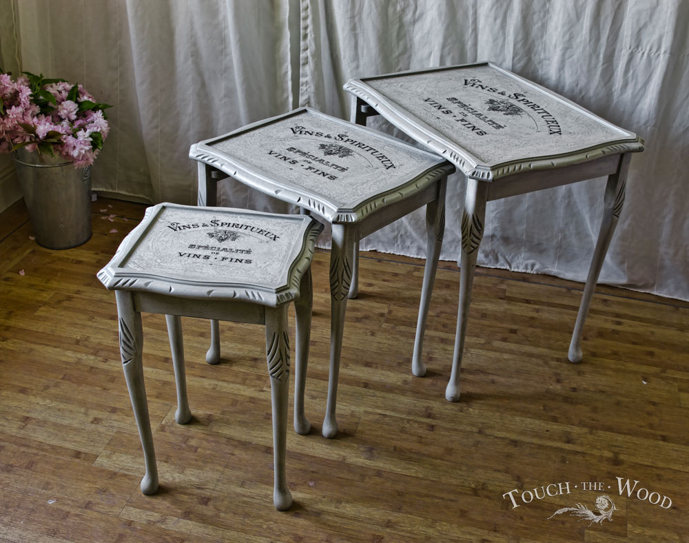 shabby chic nest of tables no 15 on sale touch the wood. Black Bedroom Furniture Sets. Home Design Ideas