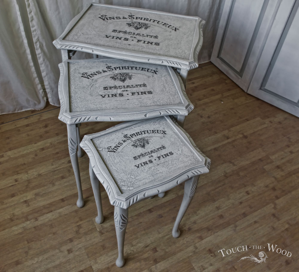 Shabby chic nest of tables no on sale touch the wood