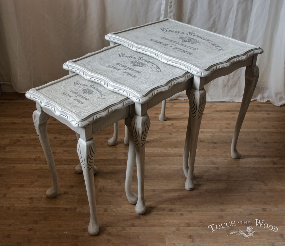 Shabby chic nest of tables no with graphic transfer