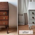vintage shabby chic bureau-secretary with french print