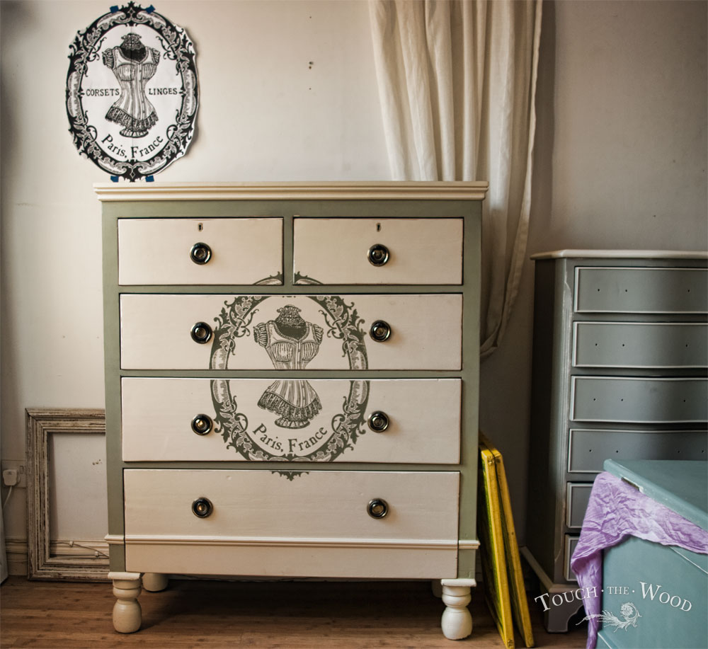 shabby chic chest of drawers with print - french corset