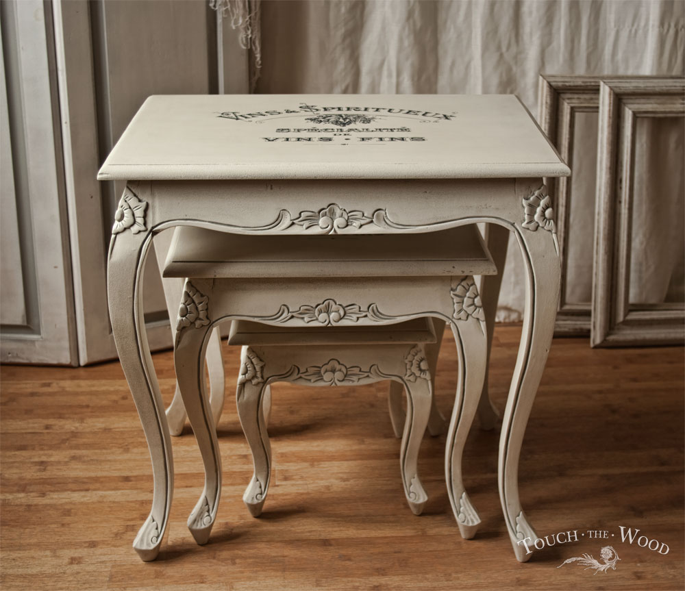 Shabby Chic Furniture with Print Transfer - vintage nest of tables