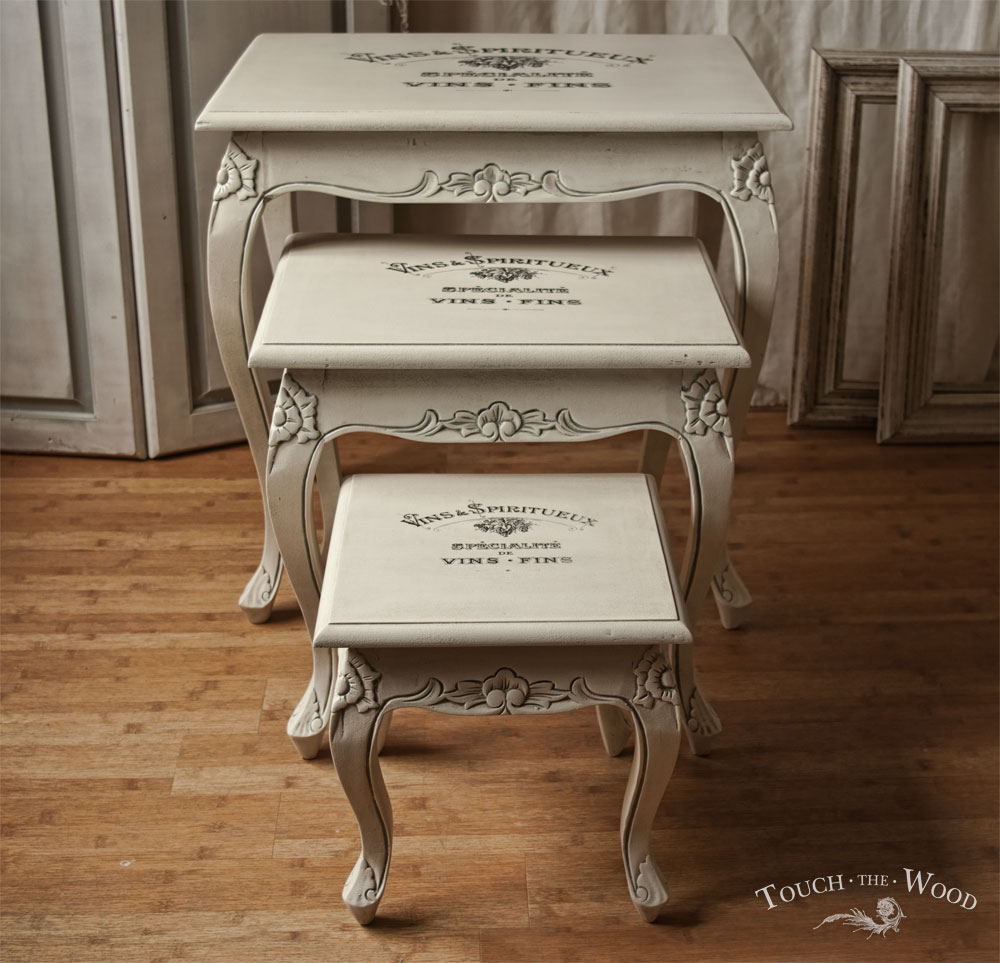 Shabby chic furniture print transfer nest of tables no for Furniture transfers