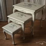 Shabby Chic Furniture with Print Transfer - nest of tables in French Style