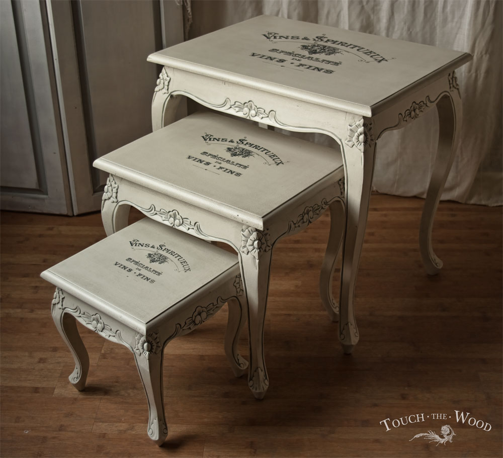 Shabby Chic Furniture Print Transfer Nest Of Tables No