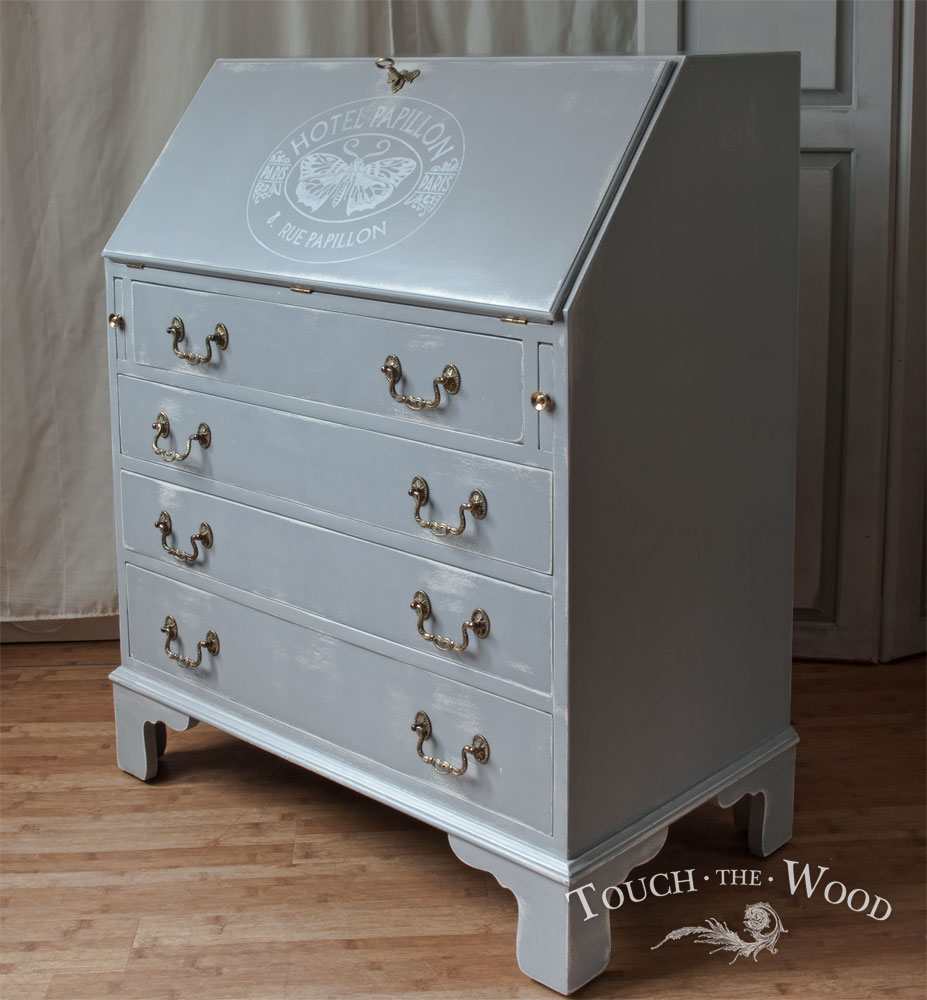 shabby chic bureau no 26 paris blue with butterfly print touch the wood. Black Bedroom Furniture Sets. Home Design Ideas