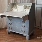 upcycled furniture with vintage french print transfer