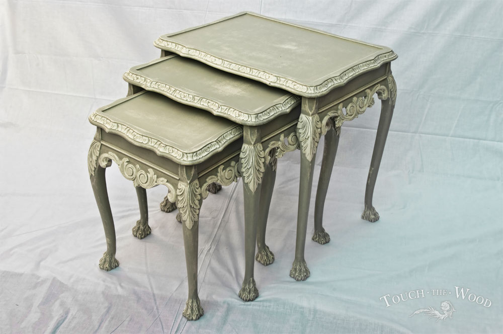 French style shabby chic nest of tables no touch the