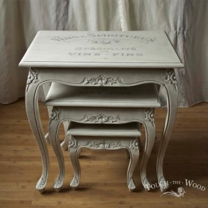 french style shabby chic nest table makeover