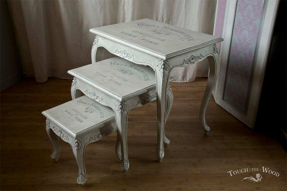Shabby chic french style nest of tables no touch the wood