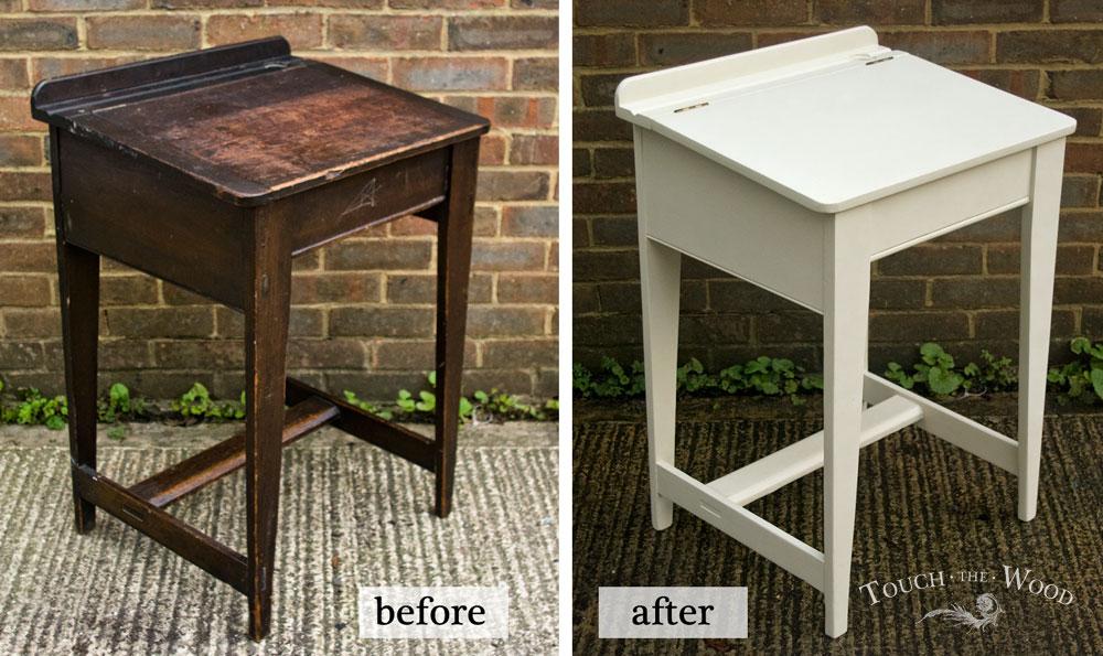Vintage Shabby Chic School Desk Makeover