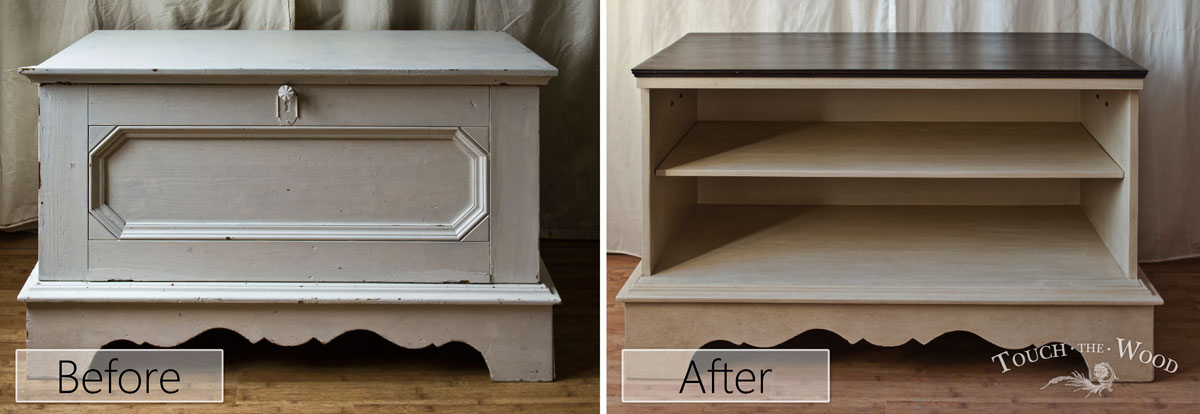 shabby chic vintage trunk / chest box makeover to coffee table
