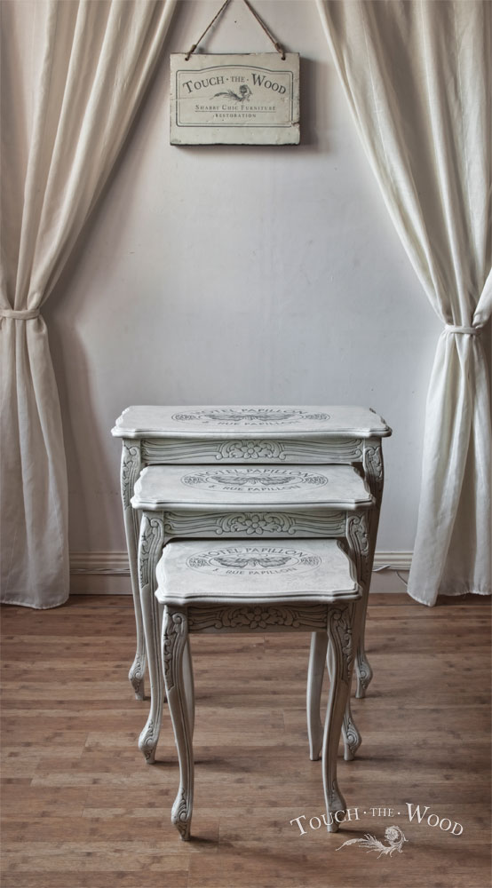 french style shabby chic nest of tables with print
