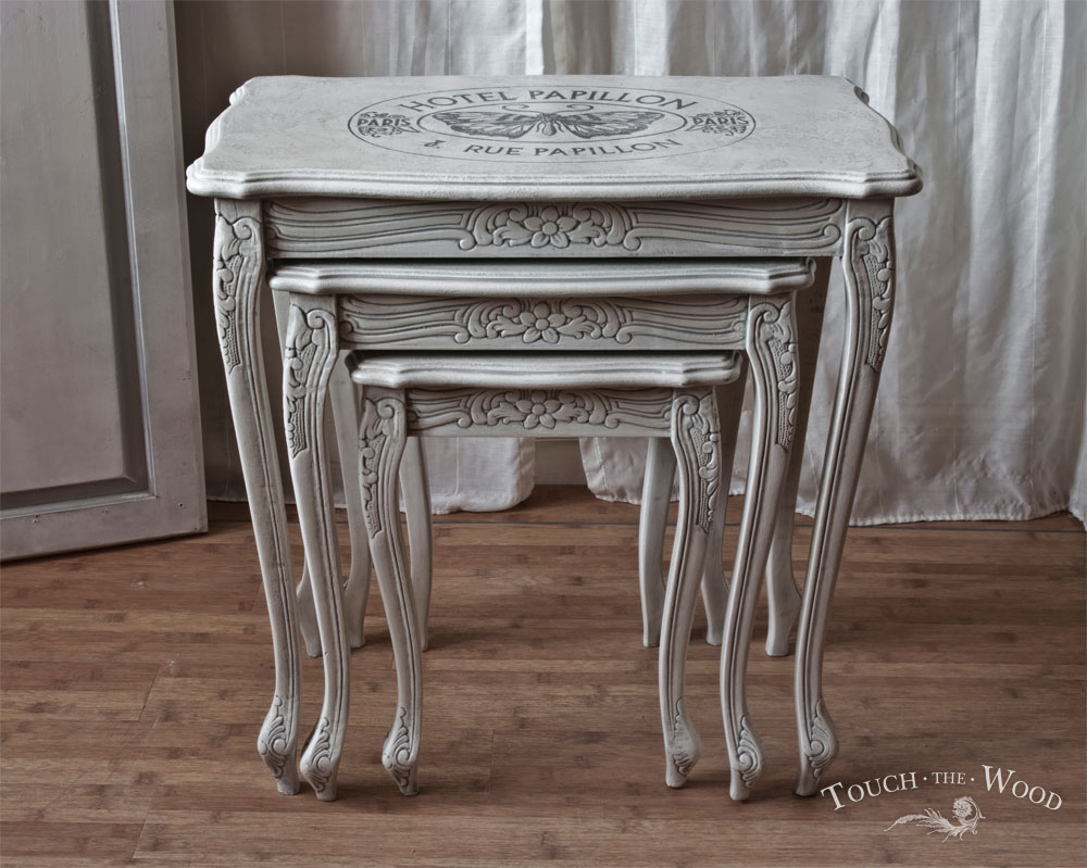 Shabby Chic Nest Of Tables With French Print No 21