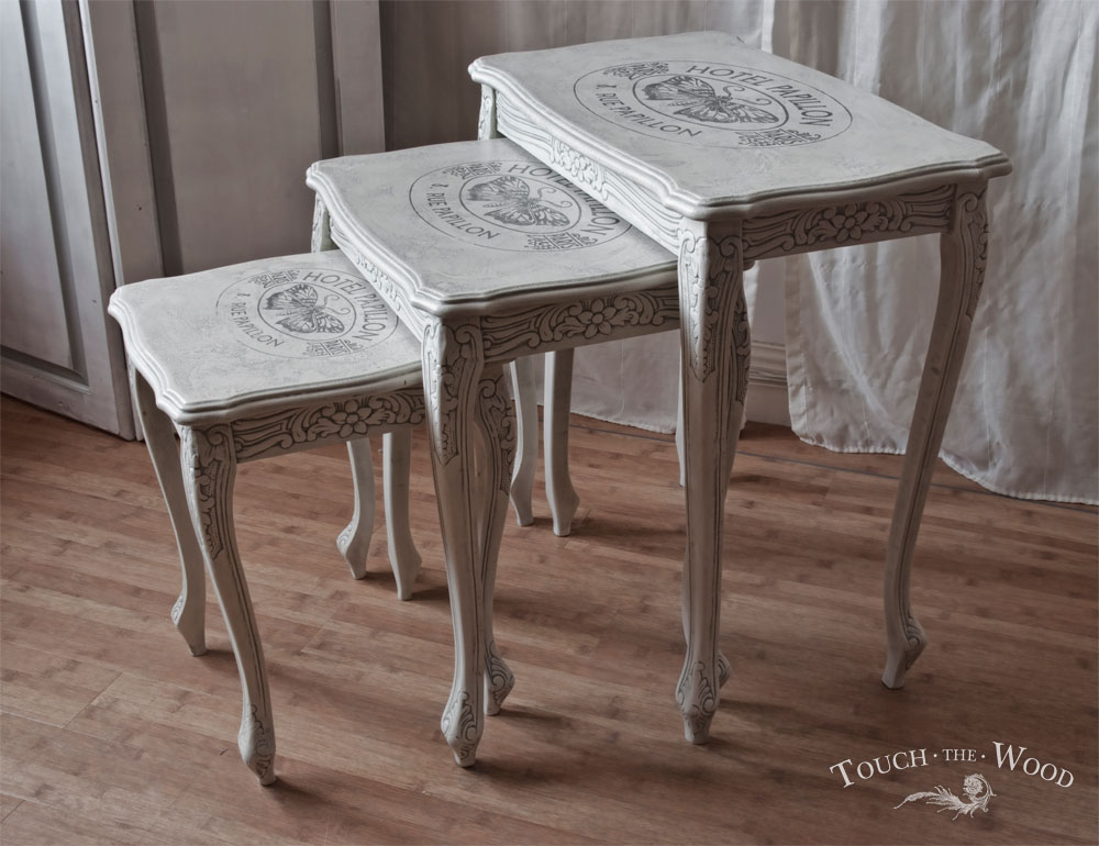 shabby chic nest of tables with french print no 21 touch the wood. Black Bedroom Furniture Sets. Home Design Ideas