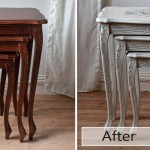 shabby chic nest of table with french print: before & after