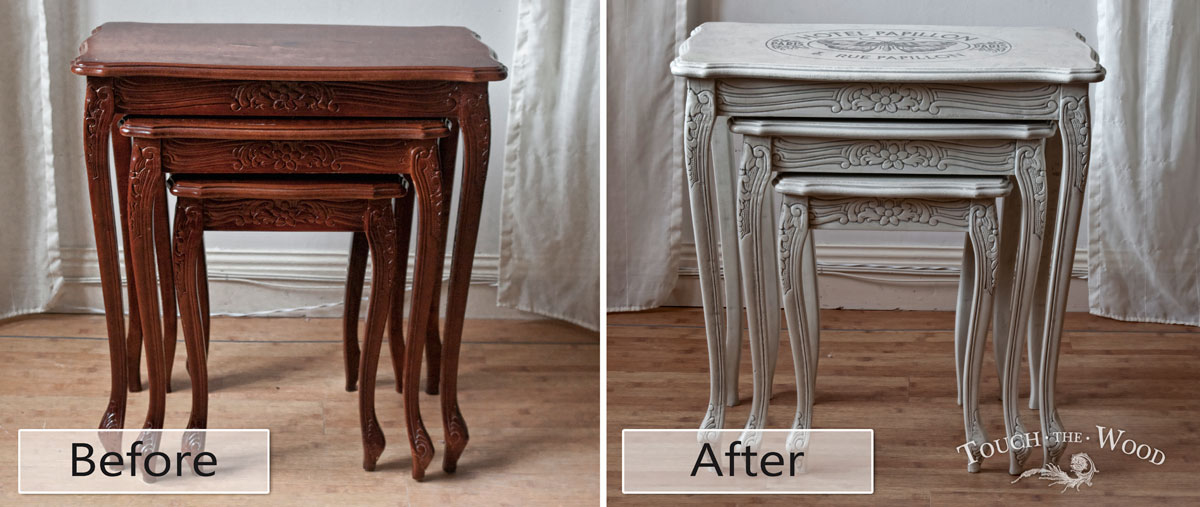 Shabby Chic Nest Of Table With French Print Before After