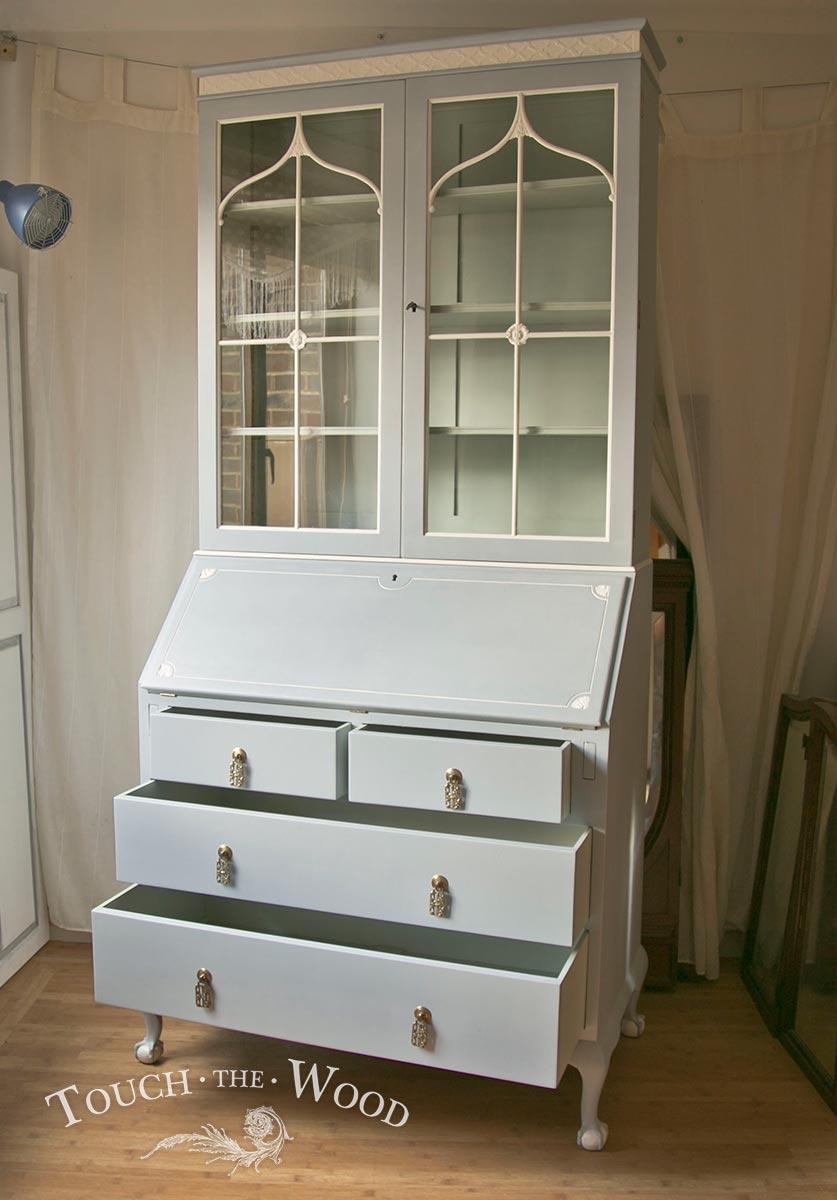 Late Edwardian Shabby Chic Bureau with Bookcase no 28
