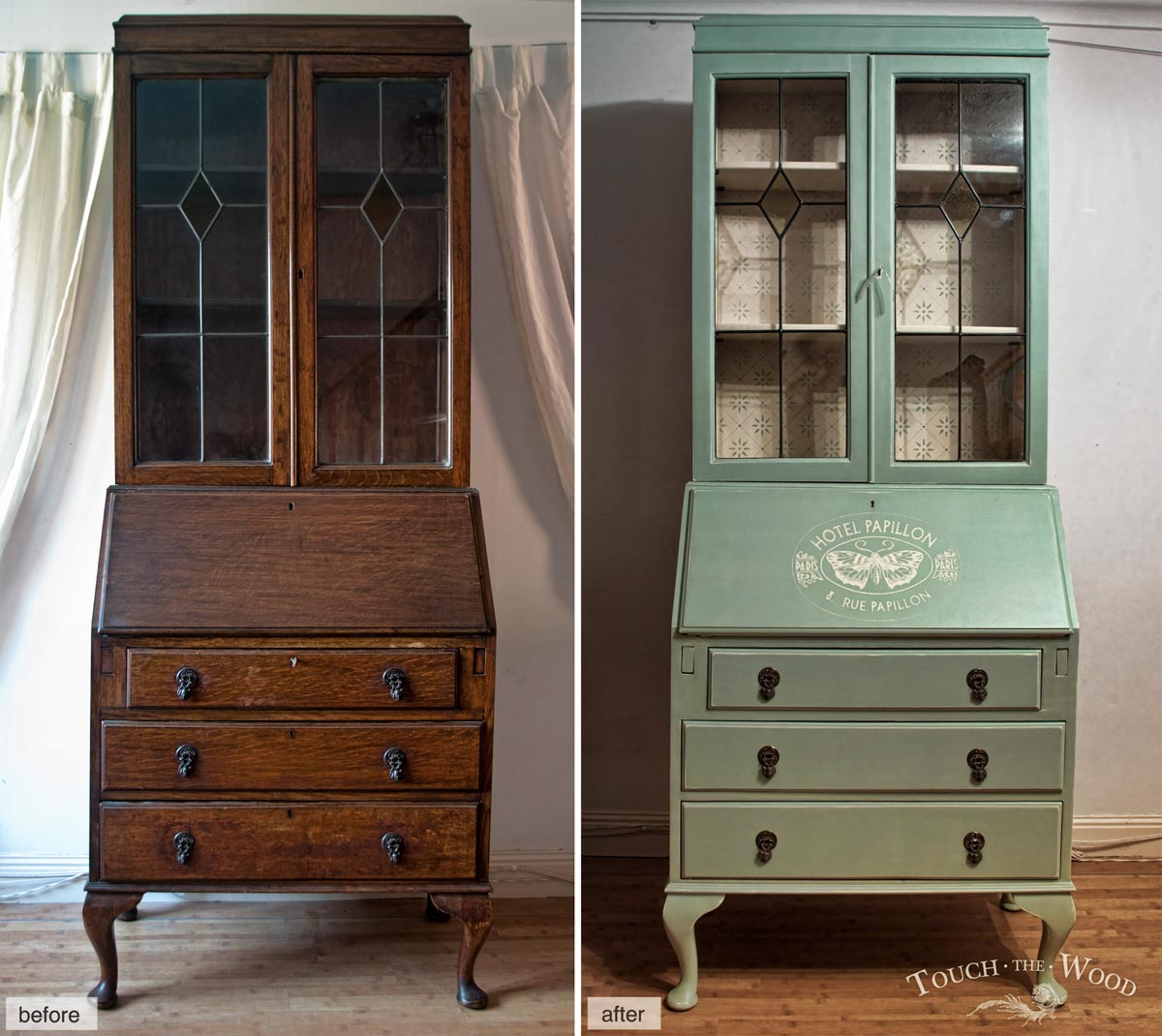 Tall Eduardian Bureau - before & after - custom makeover