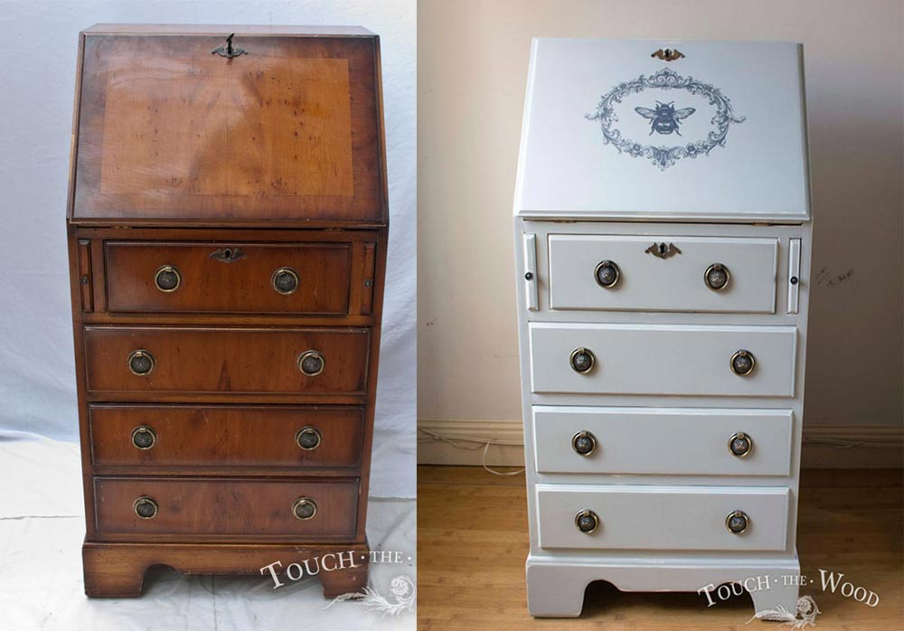 edwardian bureau shabby chic makeover - before and after