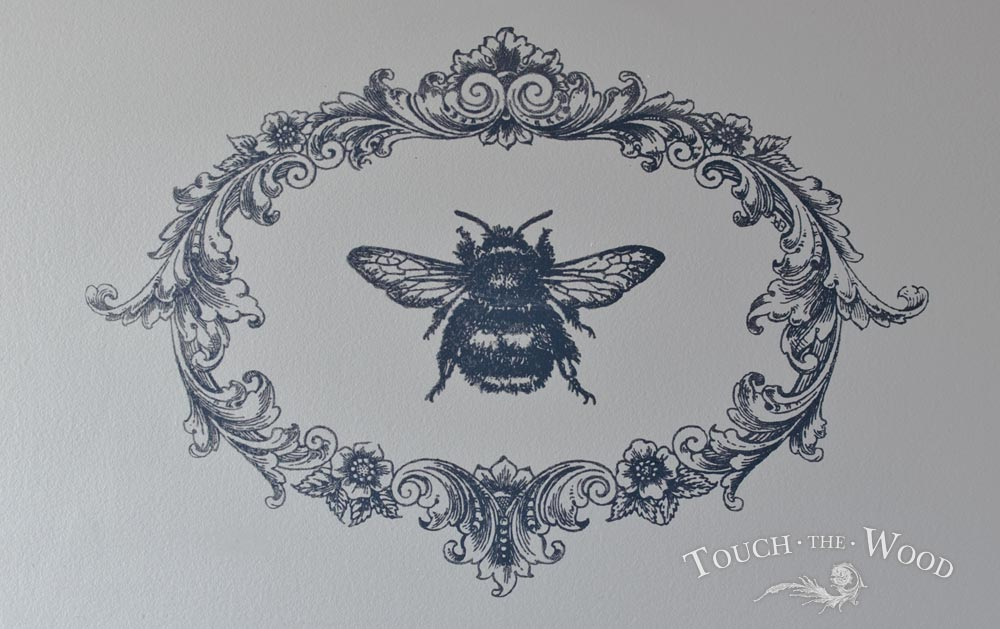shabby chic print transfer on vintage furniture - queen bee