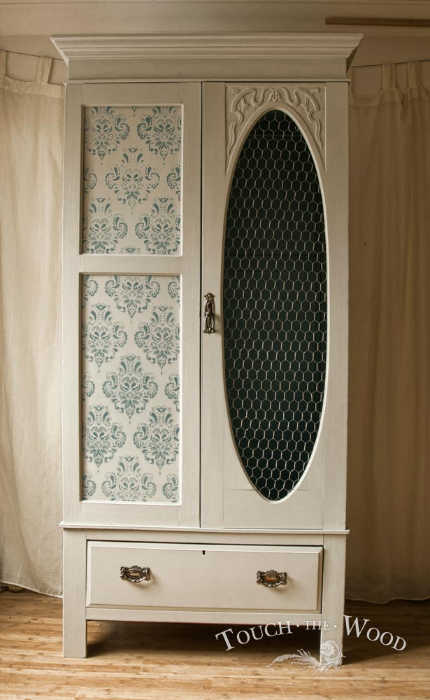 shabby chic vintage wardrobe with wire mesh