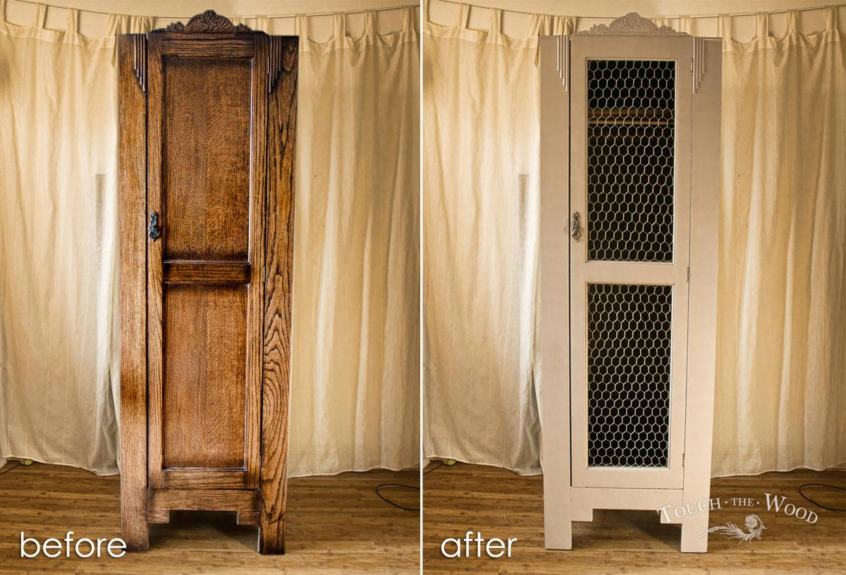 shabby chic wardrobe with wire mesh
