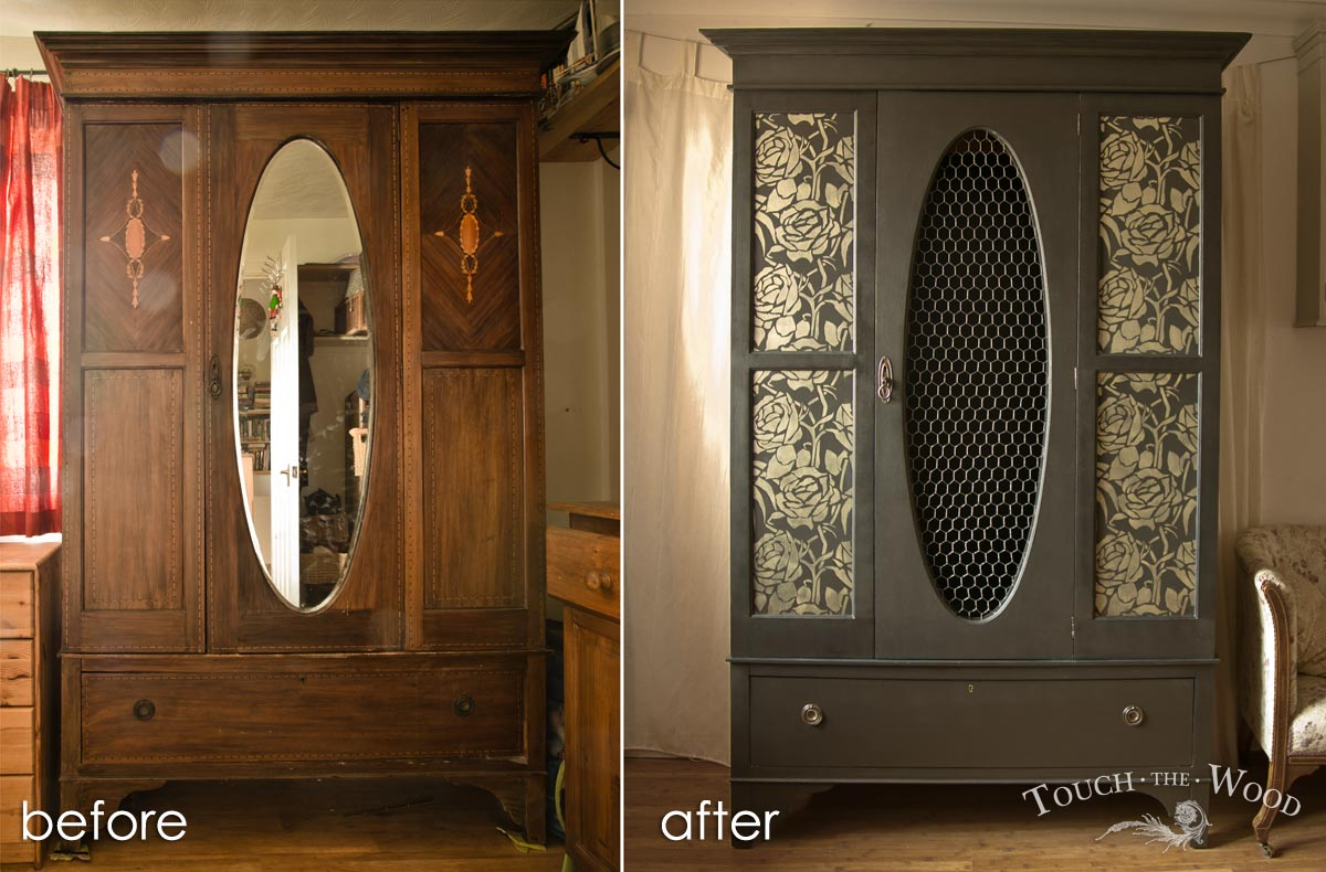 upcycled black wardrobe with floral stencil