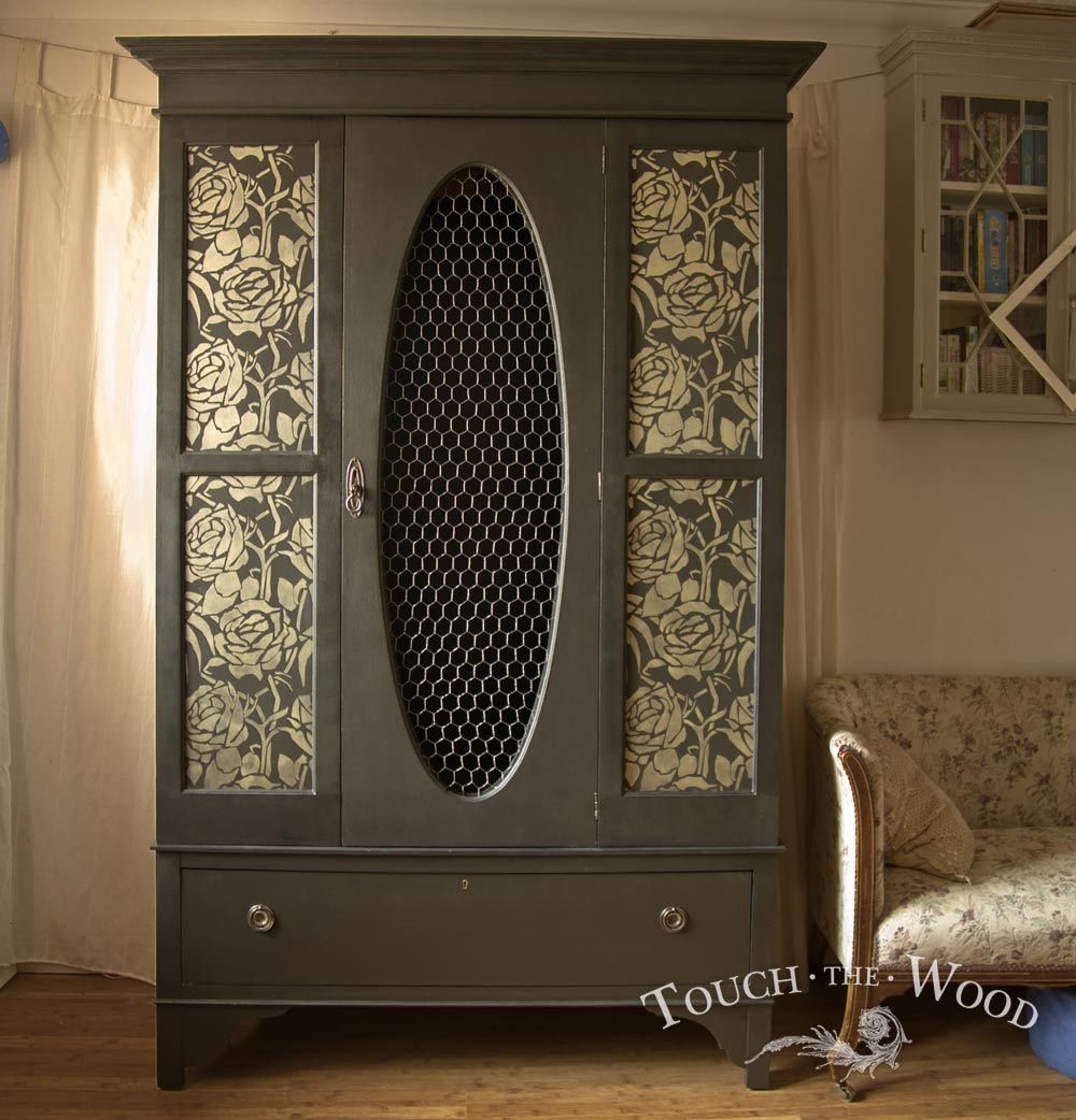 Upcycled Black Wardrobe With Floral Stencil No 05