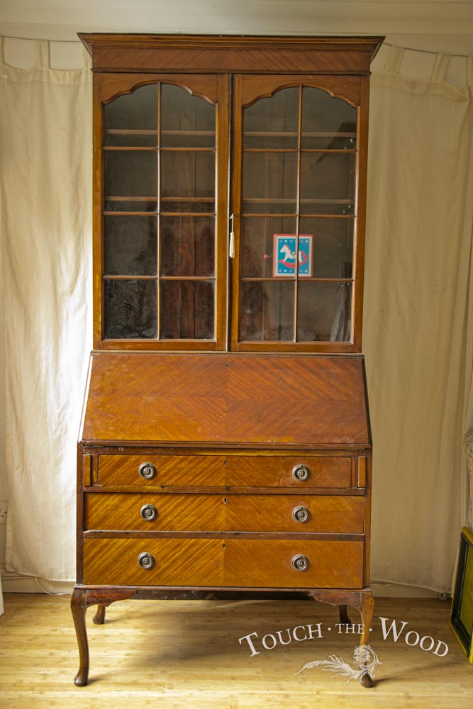 Tall edwardian bureau with bookcase
