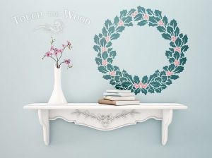 Merry Christmas Wreath Holly Berry Stencil