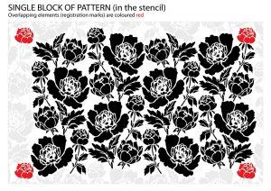 Peony Flower Ornamental Pattern Stencil