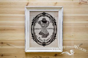 Water Decal Print Transfer - French Corset Susan in a Frame