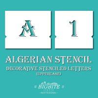 Algerian Stencil Font - UPPERCASE vintage lettering set - main image