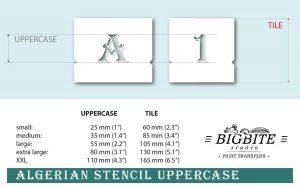 Algerian Stencil Font - UPPERCASE vintage lettering set - sizes