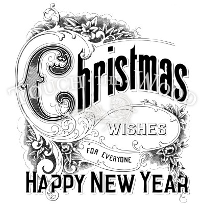 Christmas Wishes Happy New Year - Shabby Chic Water Decal Print Transfer
