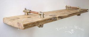 Copper Pipe Brass Single Shelf with Reclaimed Wood
