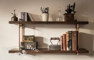 Copper Pipe Bookshelf with Brass in Steampunk Industrial Style