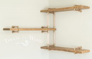 Copper Pipe Corner Shelf Unit with Brass and Reclaimed Wood