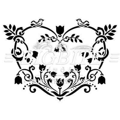 floral heart decorative stencil