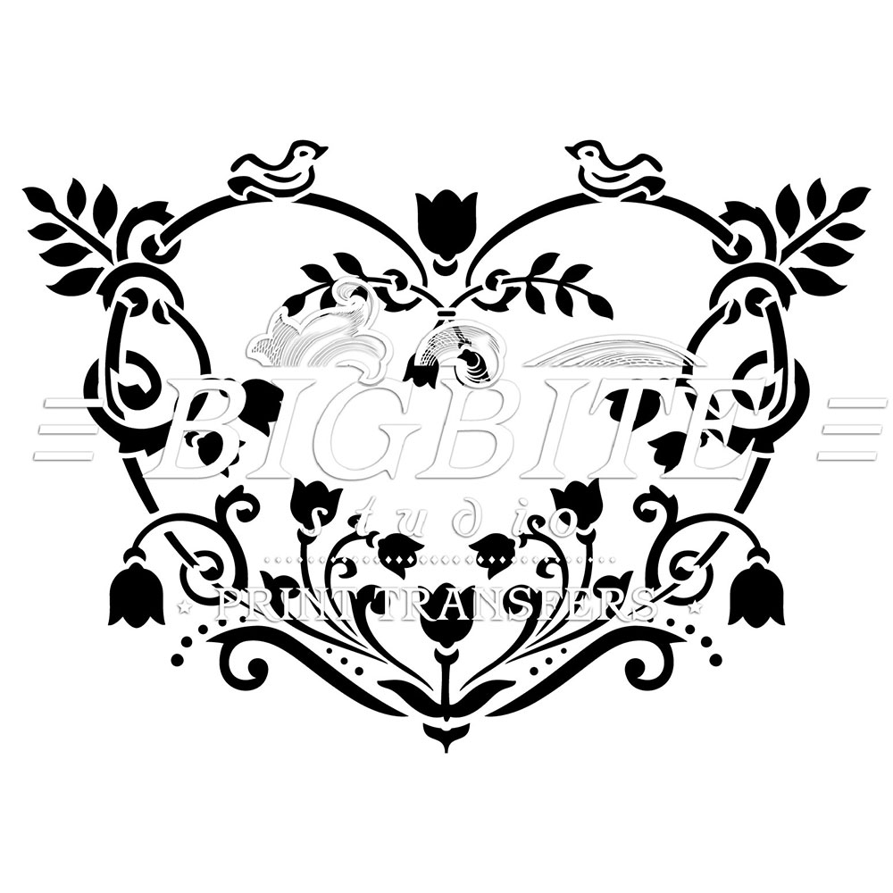 Shabby Chic Stencil: Floral Heart Decorative #064