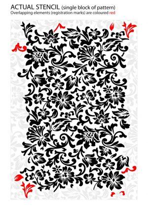 floral wallpaper pattern stencil