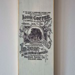 shabby chic recycled wooden planks with print - vintage coffee advert