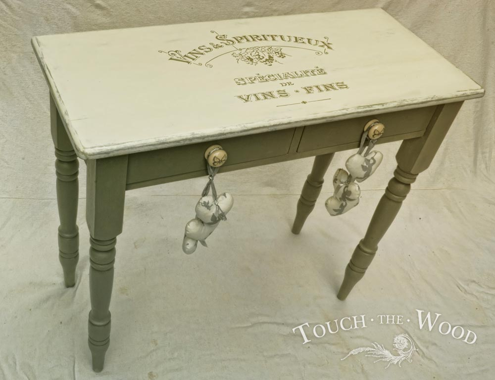 shabby chic stencil vintage french vins advert touch the wood. Black Bedroom Furniture Sets. Home Design Ideas